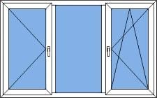 ПВХ окно трехстворчатое